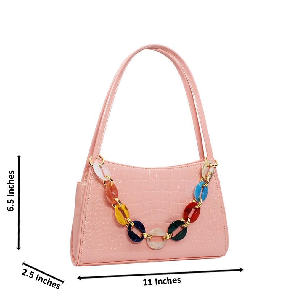 Pink Candice Croc Patent Leather Mini Handbag