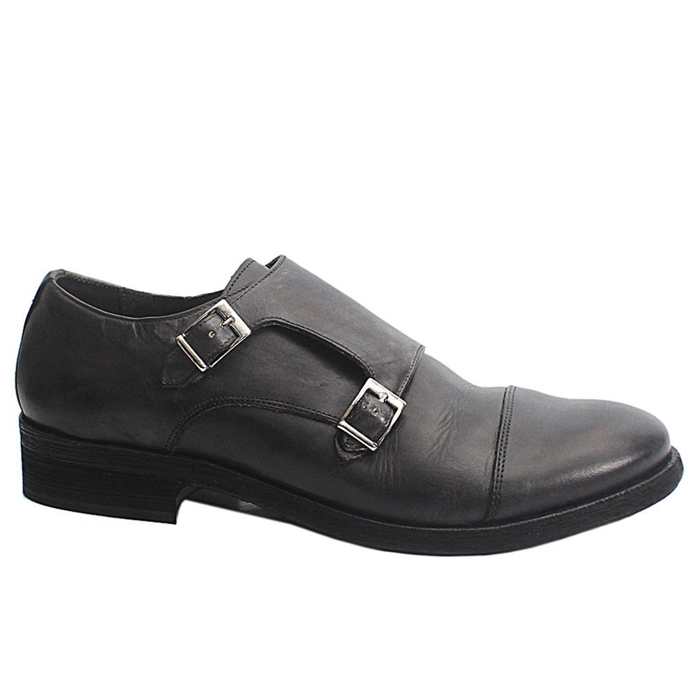 Gray Alan Leather Men Monk Strap Shoes