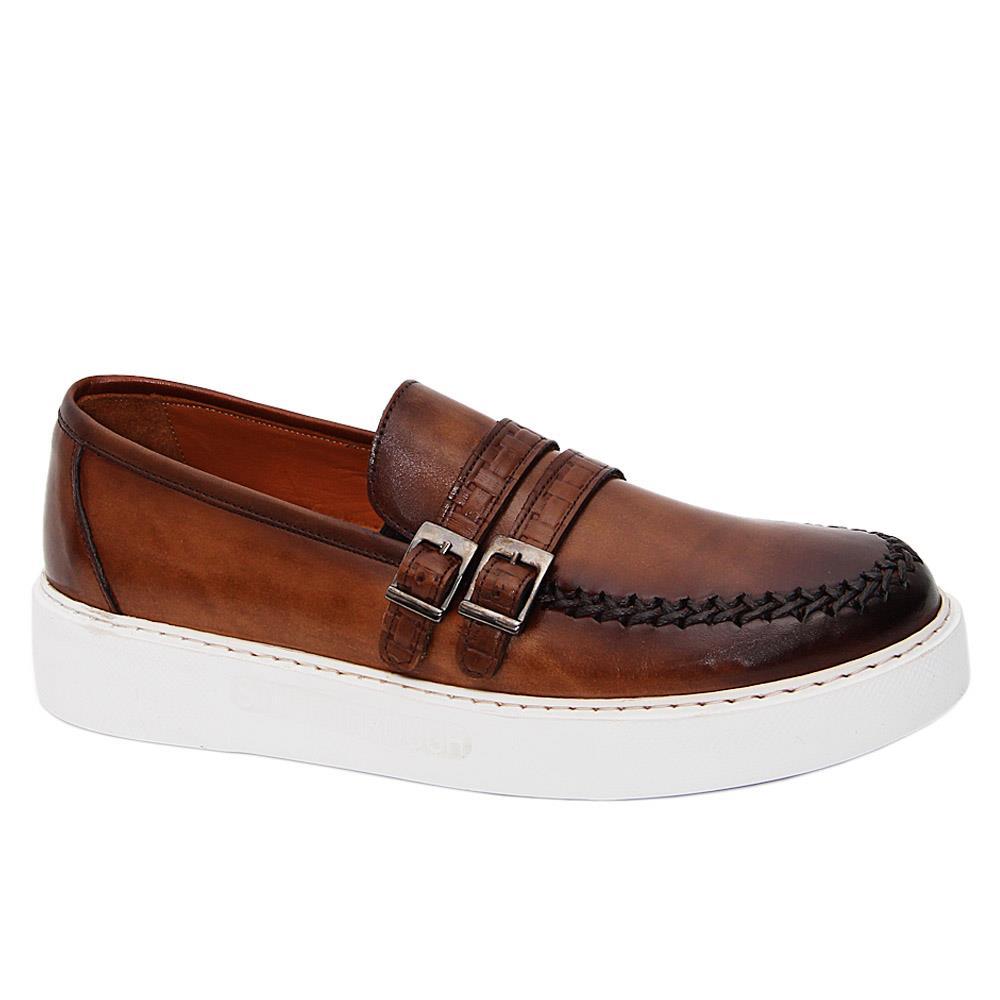 Brown Matias Trent Italian Leather Slip-On Sneakers