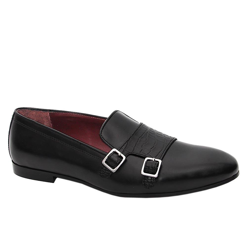 K Geiger Black Harrison Leather Buckle Loafers