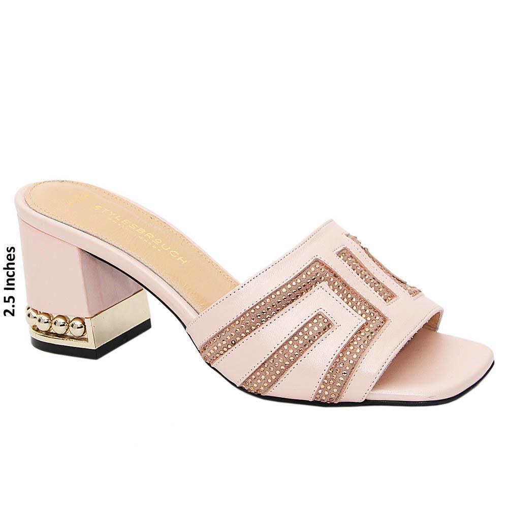 Soft Pink Royale Studded Tuscany Leather Mid Heel Mule