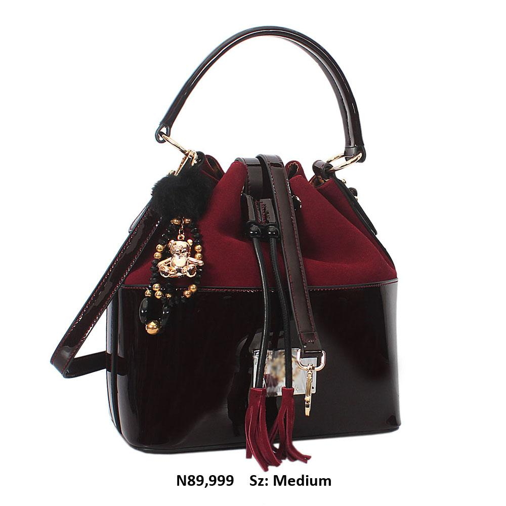 Nessa Wine Suede Patent Cowhide Leather Shoulder Handbag