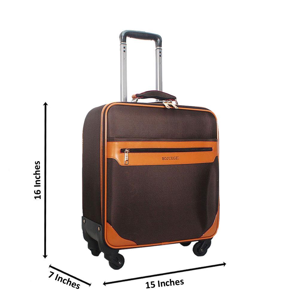 Coffee Cordura 16 Inch Fabric Pilot Suitcase Wt Lock