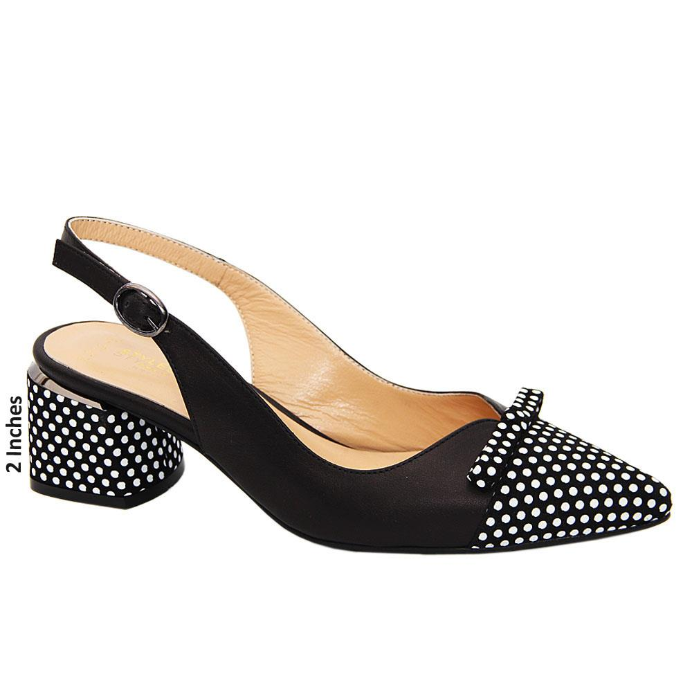 Black Anika Polka Dot Tuscany Leather Mid Heel Slingback Pumps