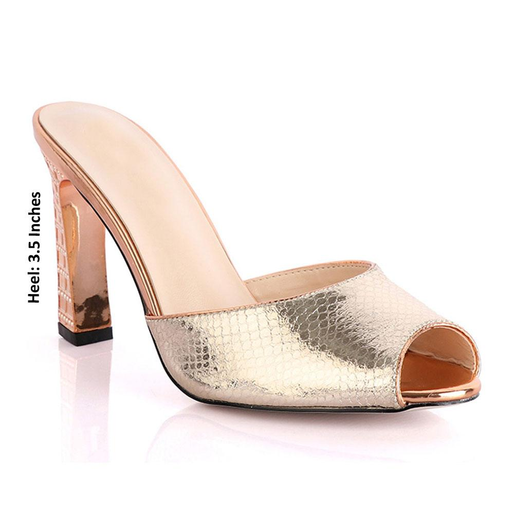 Rose Gold Canessa Leather High Heel Mules