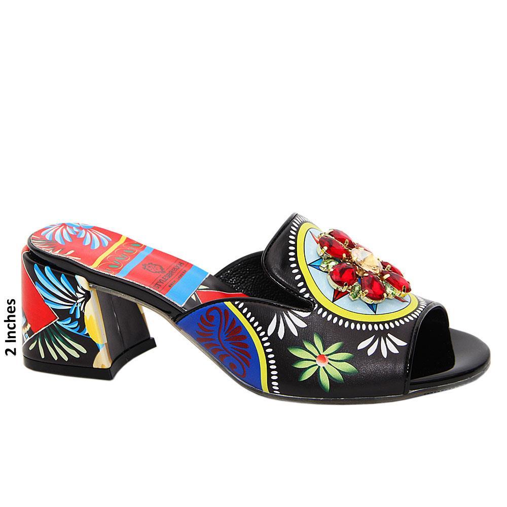 Black Amalia Studded Graphics Print Italian Leather Mid Heel Mule