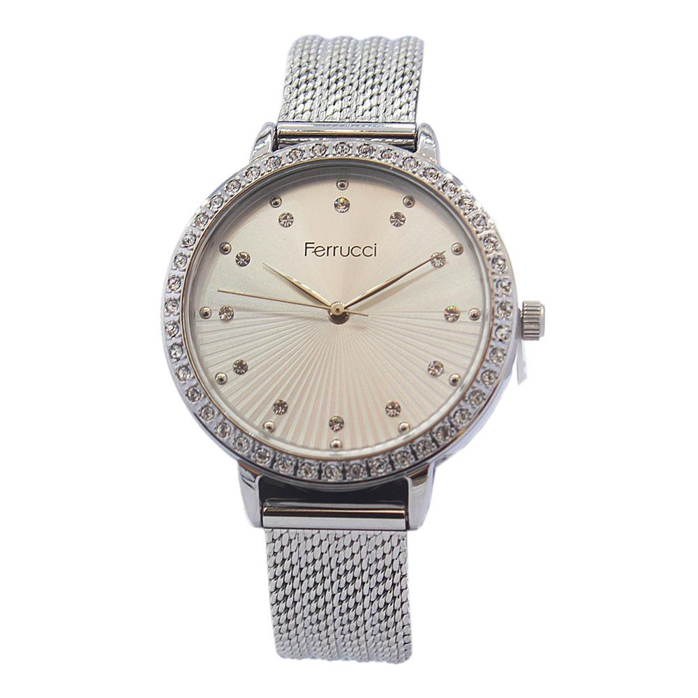 Studdded Silver Stainless Mesh Ladies Watch