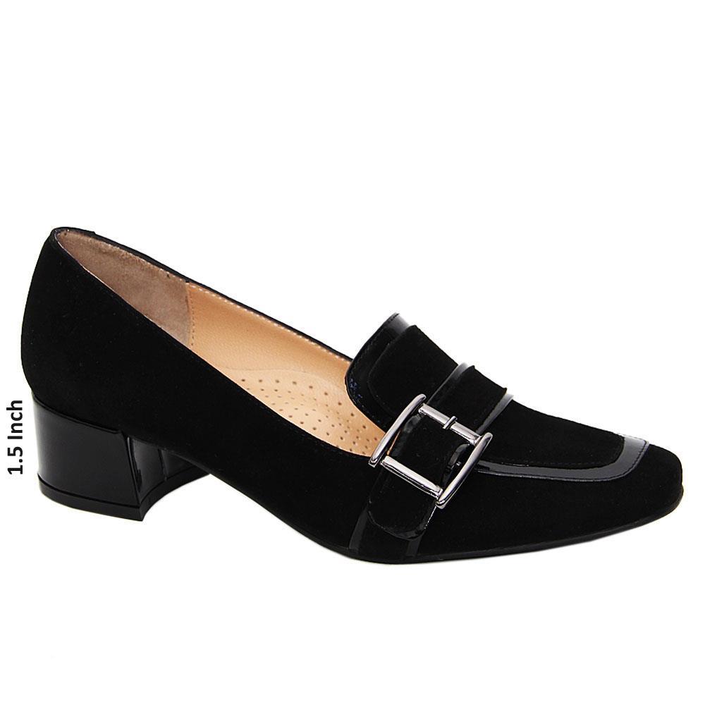 Black Ella Suede Tuscany Leather Block Heel Pumps