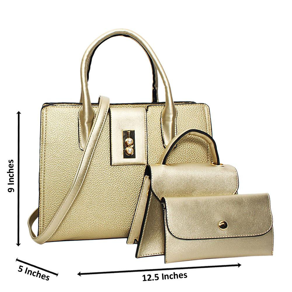 Gold Tessa Leather Medium 3 in 1 Tote Handbag