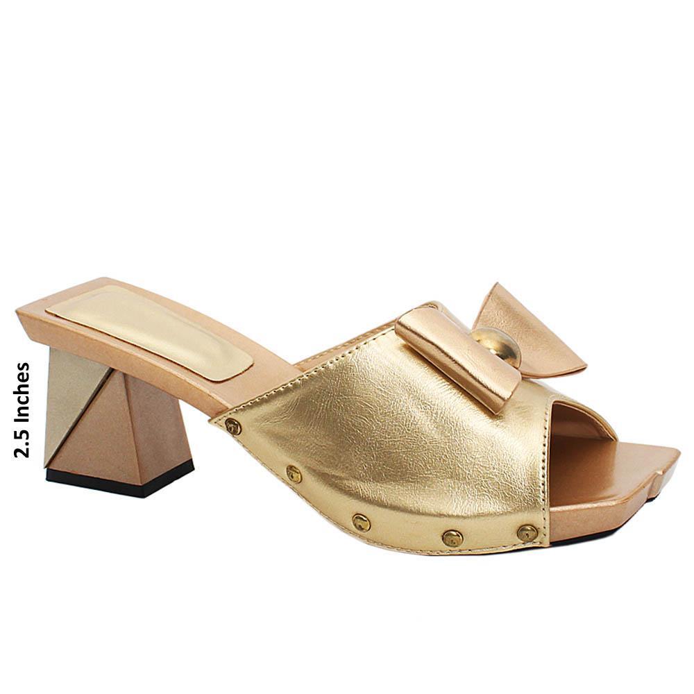 Gold Jenna Leather Medium Mule Heels