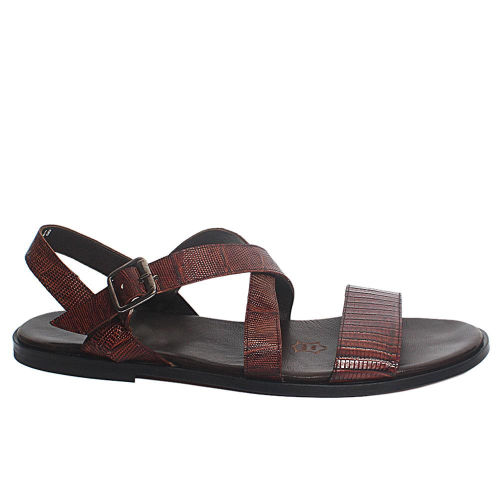 Brown Picasso Leather Upper and Sole Men Sandals