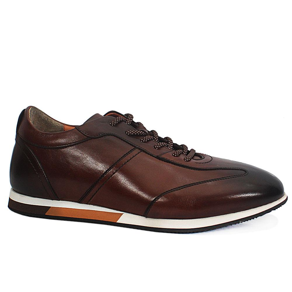 Sabatini Brown Antique Leather Classic Sneakers