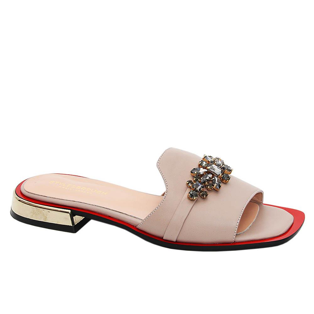 Beige Rosa Studded Tuscany Leather Low Heel Women Slippers