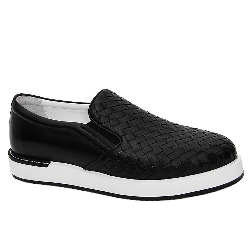 Black Gregory Woven Italian Leather Slip-On Sneakers