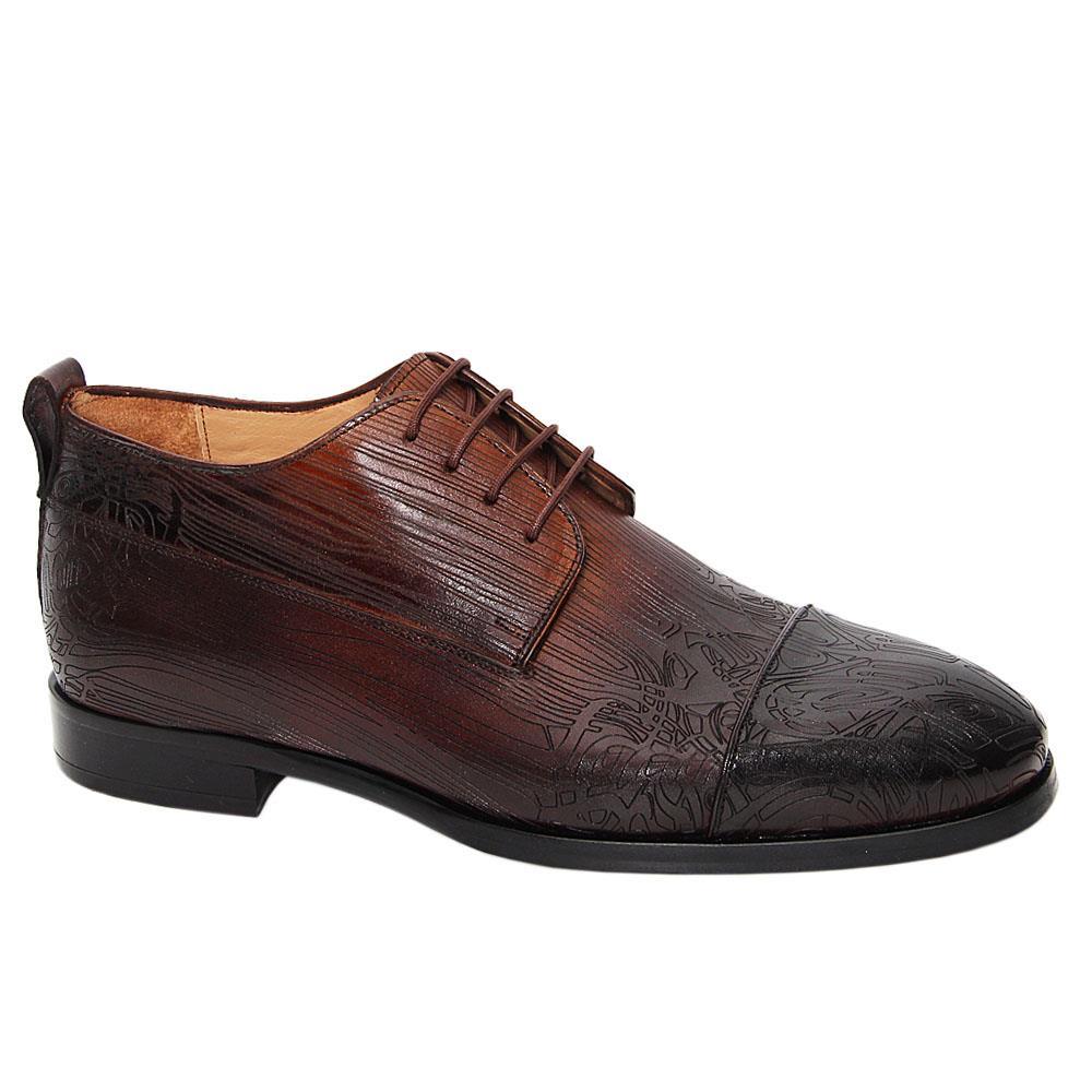 Coffee-Caesar-Augusto-Embossed-Italian-Leather-Half-Boots