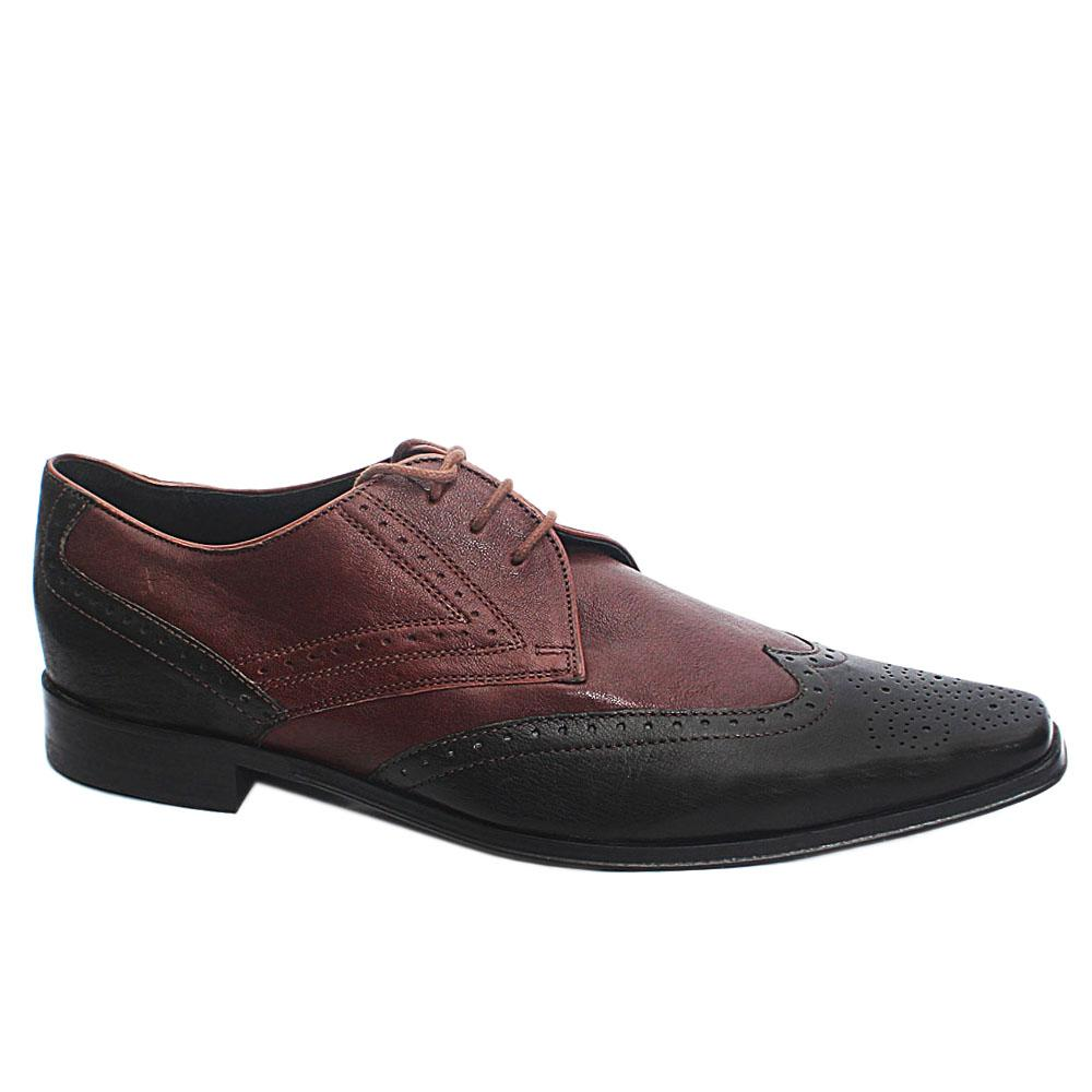 Coffee Black Leather Men Derby Shoes