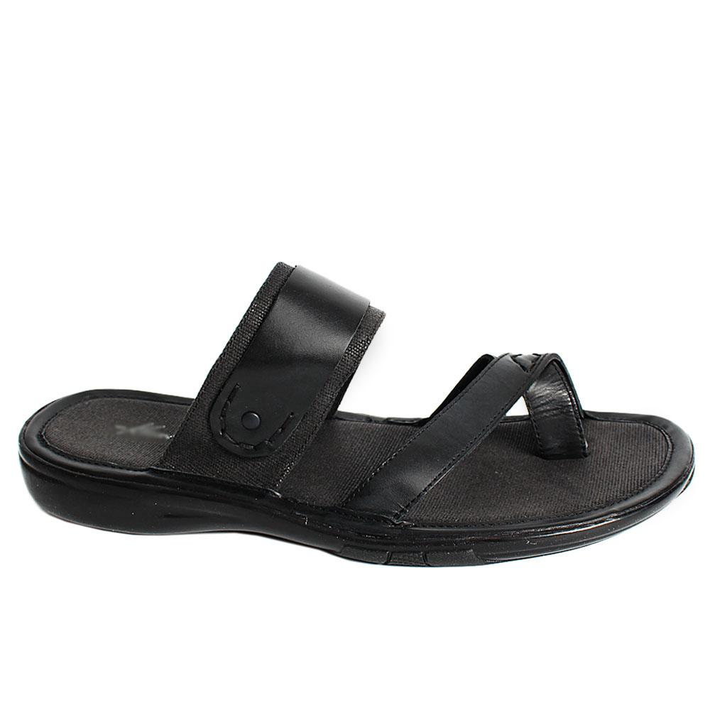 K Cole Black Fabric Leather Men Slippers
