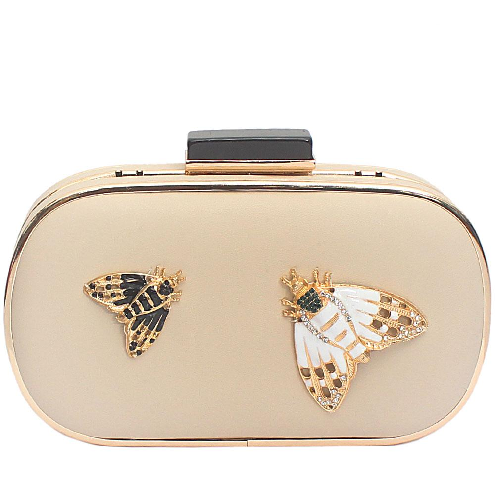 Khaki Leather Butterfly Premium Hard Clutch