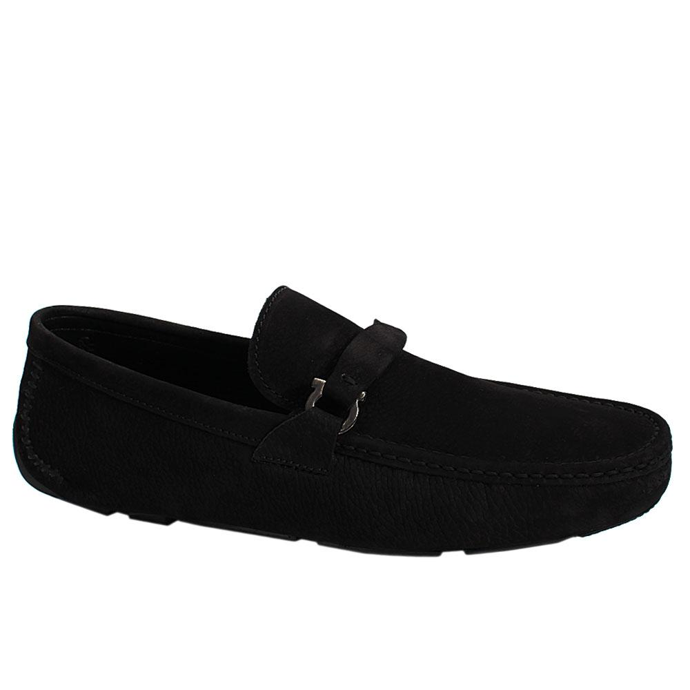Black Nubuck Italian Leather Men Drivers Shoe