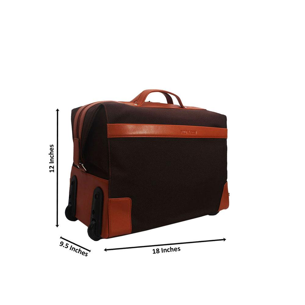 Coffee Cordura Fabric Leather Trolley Duffel Bag