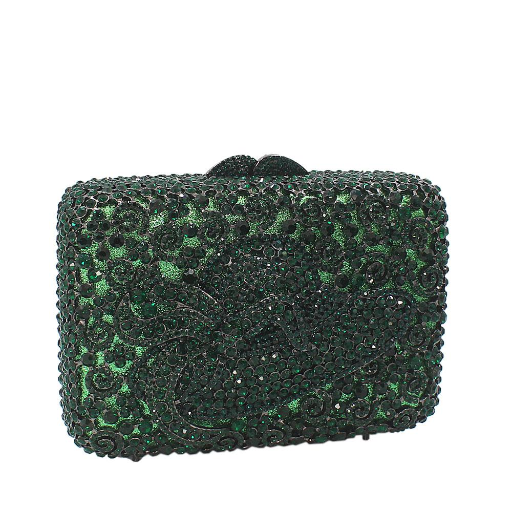 Green Hat Diamante Crystals Clutch Purse