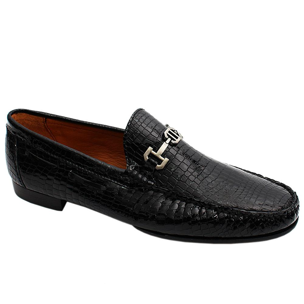Black Indian Patent Snake Styled Italian Leather Men Loafers
