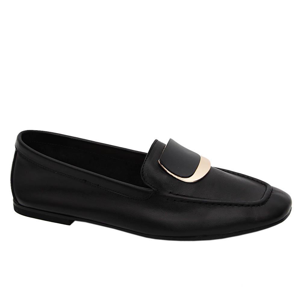 Black April Tuscany Soft Leather Flat Shoe