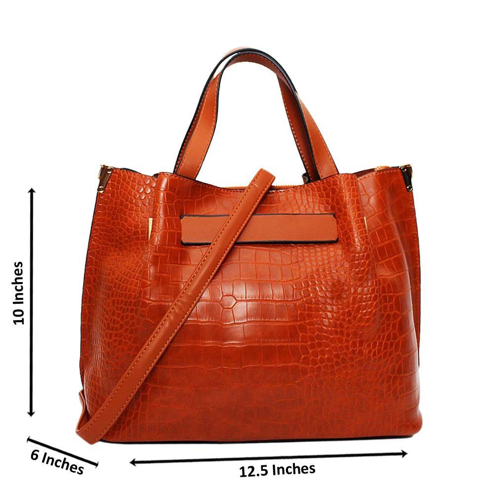 Brown Amelle Croc Leather Medium Tote Handbag