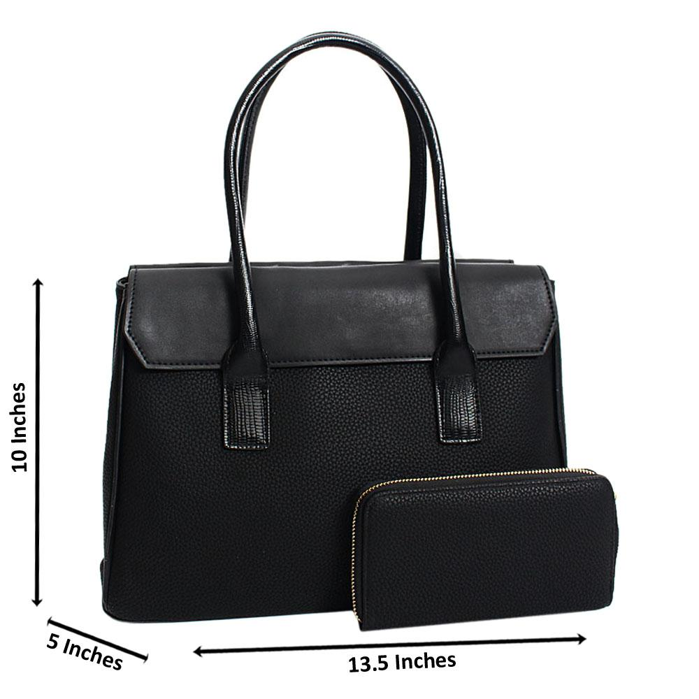Black Aurora Leather Medium Tote Handbag