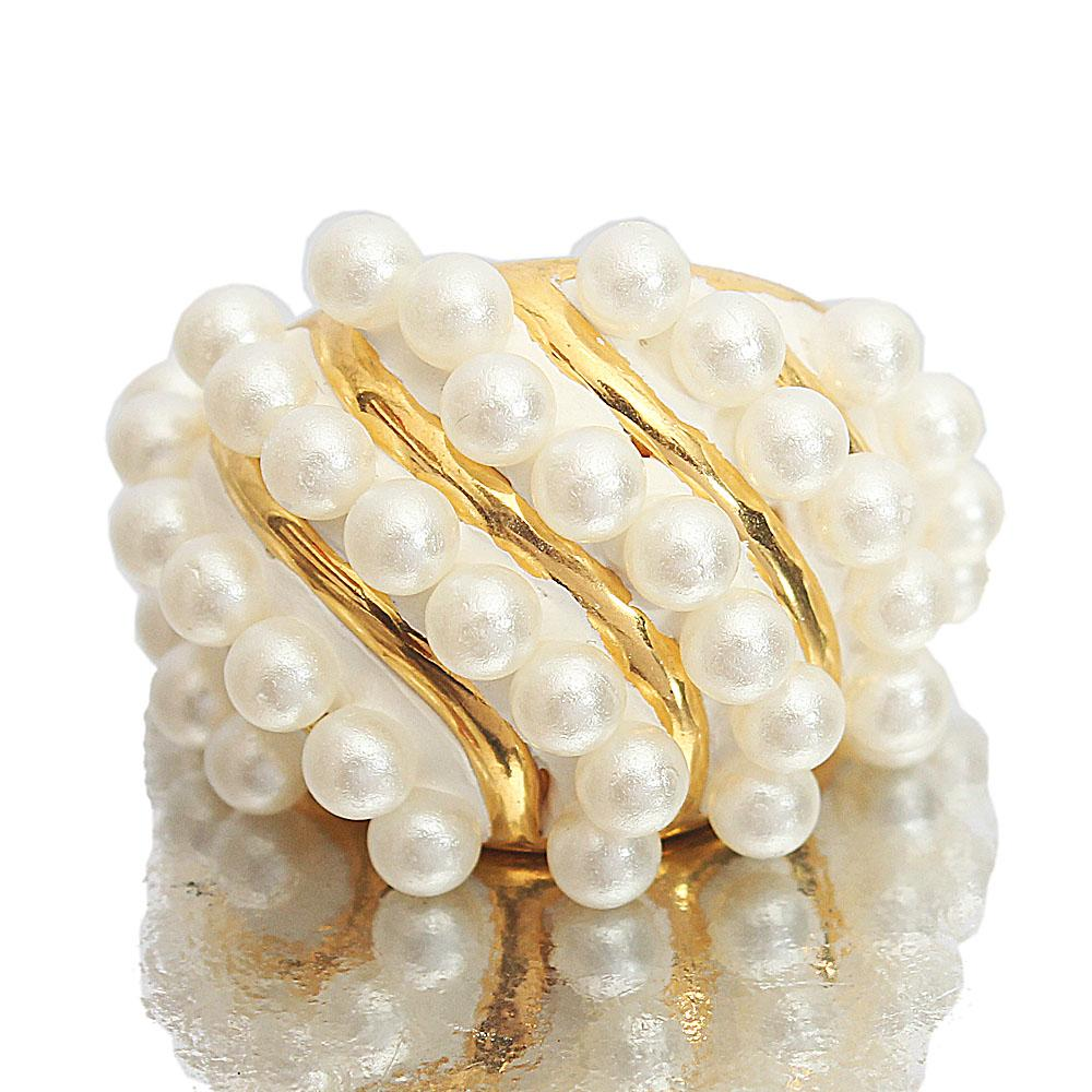 Gold Steel Pearl Luxury Ladies Ring Sz M