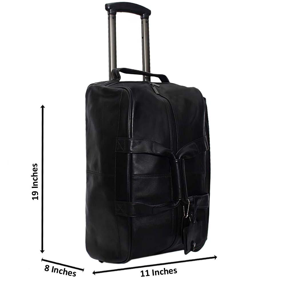 Black Marcelo 19 Inch Italian Leather 2-Ways Carry-On Luggage
