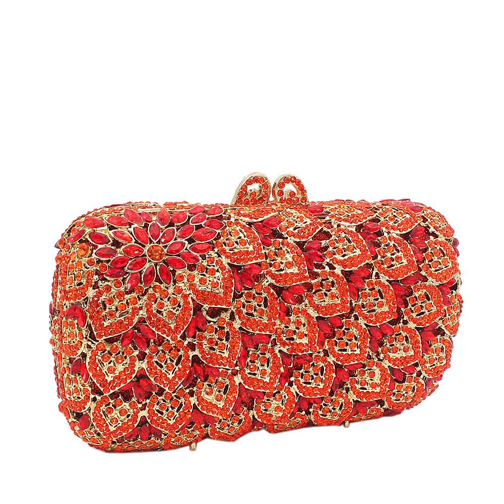 Orange Red Diamante Crystals Clutch Purse
