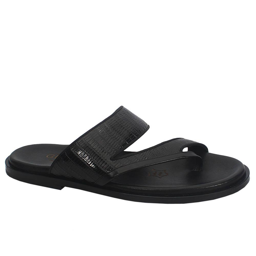 Black AndreLeather Upper and Sole Men Slippers