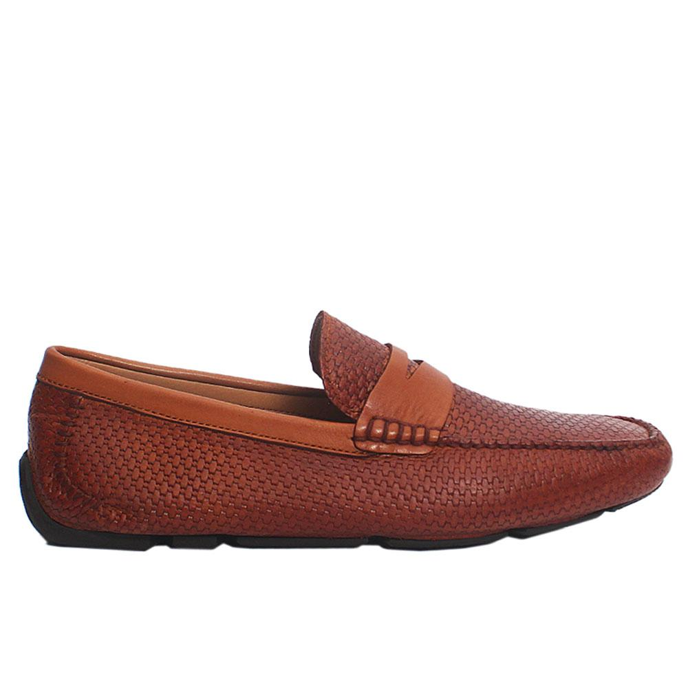 Brown Milano Embossed Italian Leather Drivers Shoes