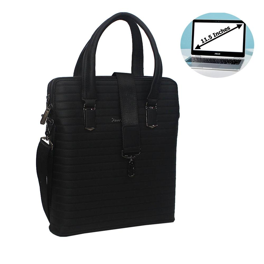 Black Leather Slim Briefcase