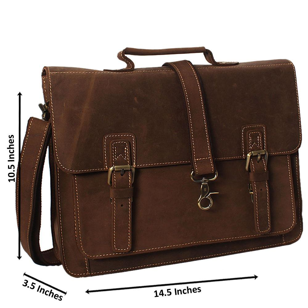 Golden Oak Brown Cowhide Leather Briefcase
