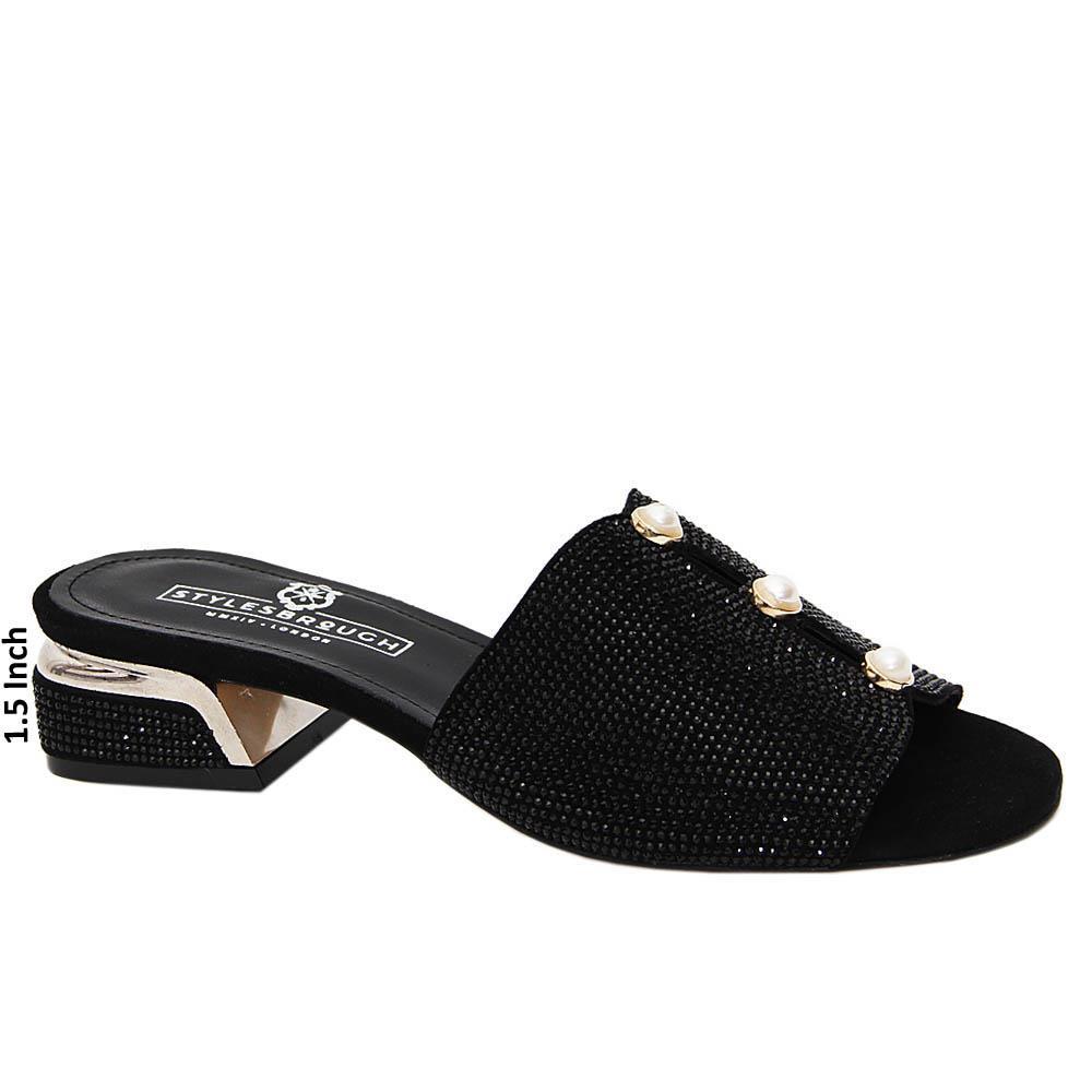 Black Alice Studded Italian Leather Mid Heel Mule