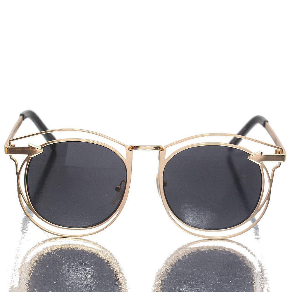 Gold Round FDark Lens Sunglasses