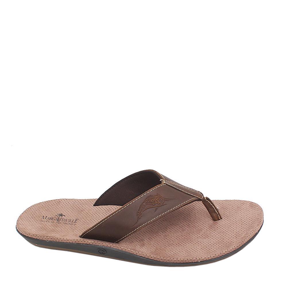 Margaritaville Brown Leather Men Pam Slippers Sz 46