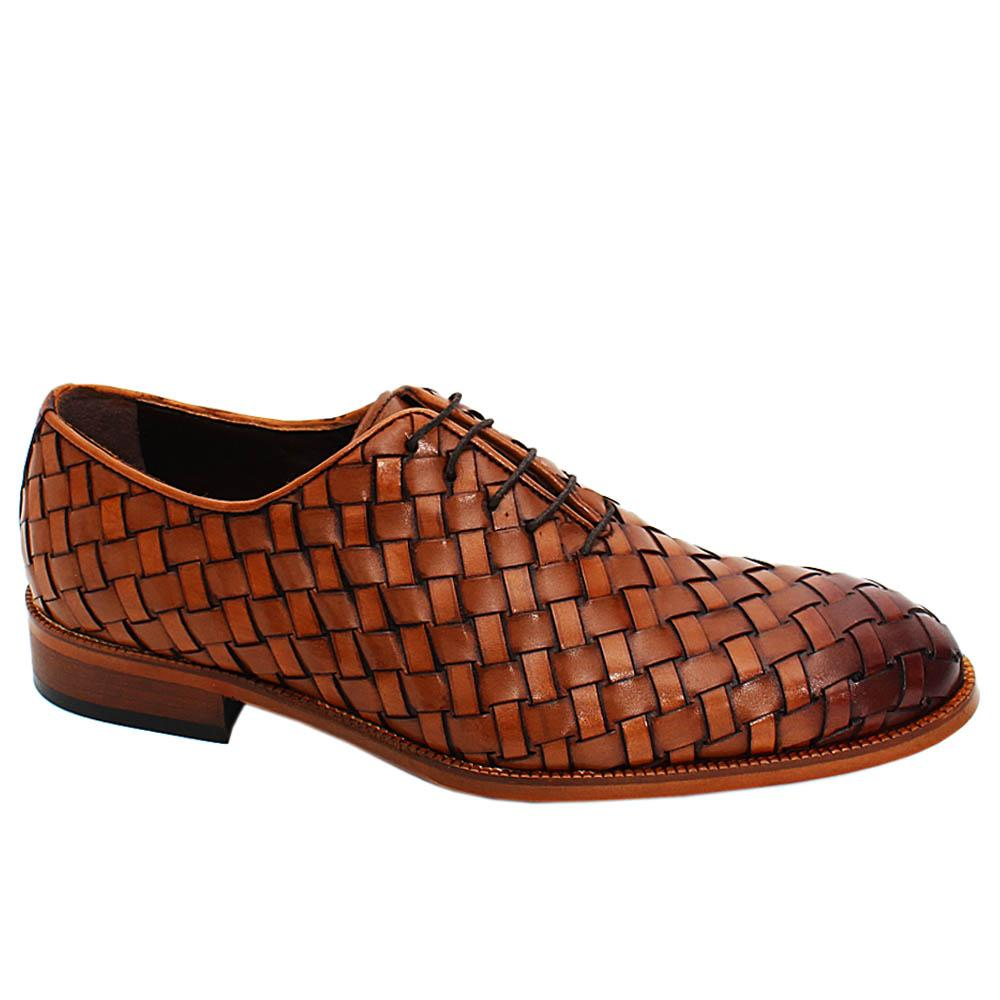 Brown Apollo Hand-Woven Leather Oxford Shoes