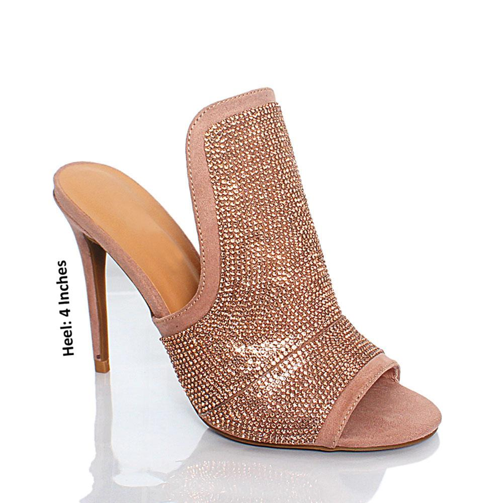Beige Crystal Studded AM Medussa Suede Leather High Heel