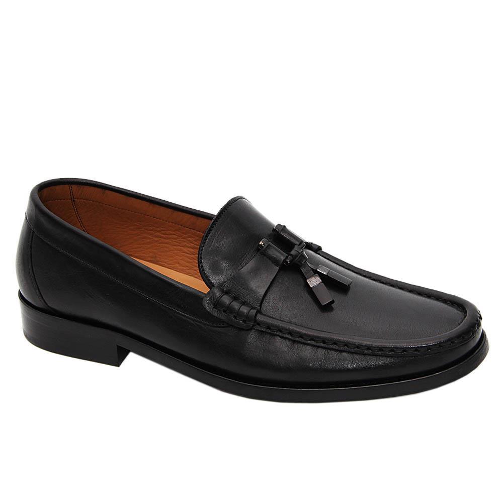 Black Silvio Italian Leather Penny Loafers
