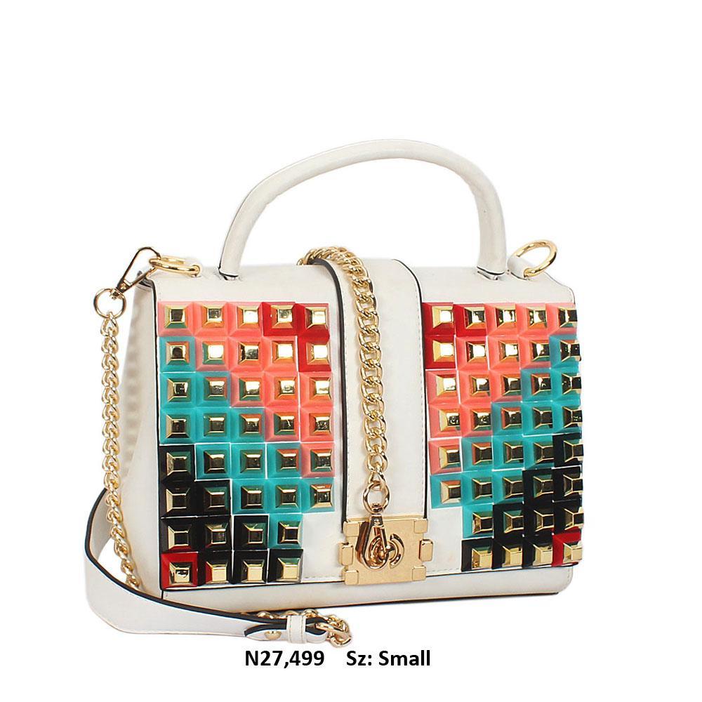 White Studded Leather Small Top Handle Handbag