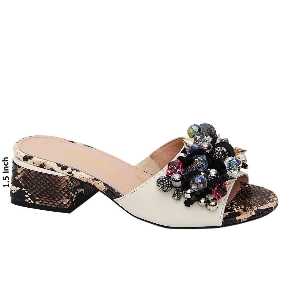 Cream Black Mix Jewel Tuscany Leather Mid Heel Mule