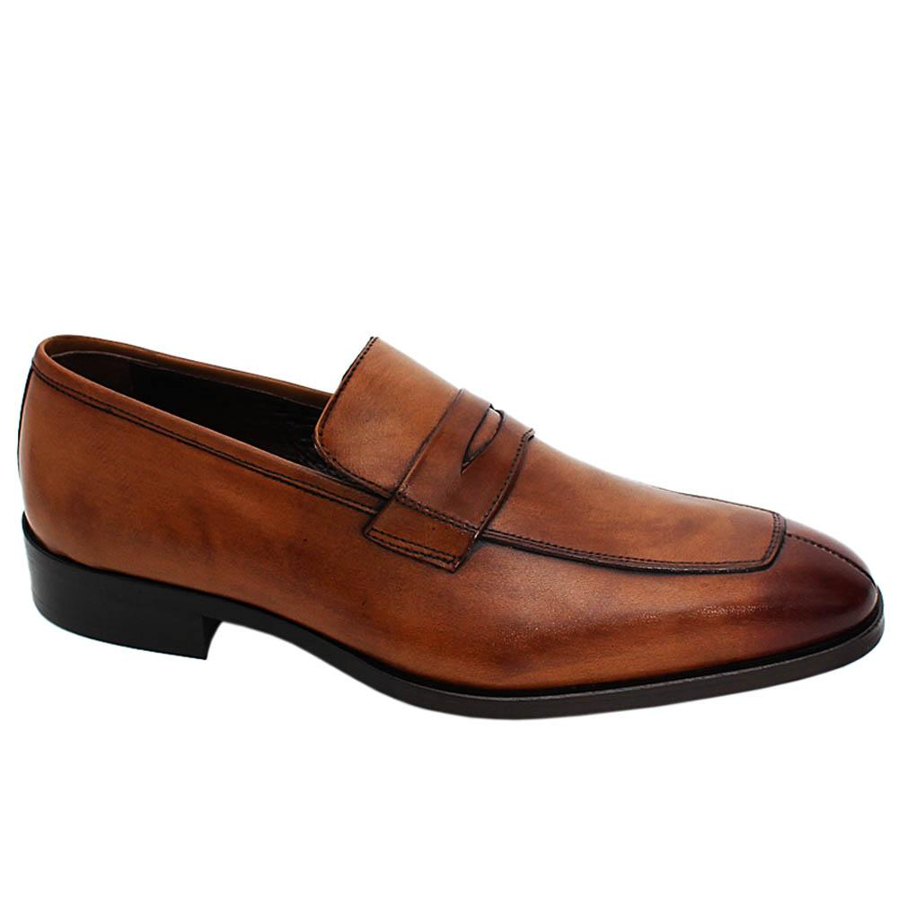 Brown Eason Zayn Leather Men Penny Loafers