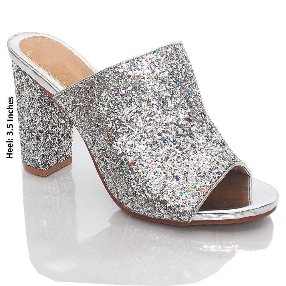 Silver Kelly Glitz Leather Peep Toe High Heels