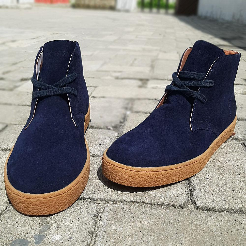 Navy Salina Suede Leather Ankle Boot