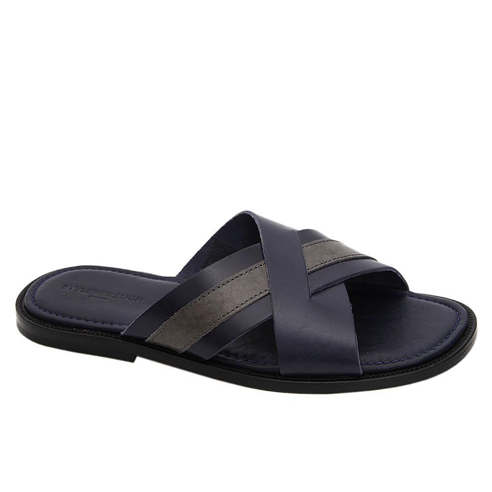 Navy Grey Dario Italian Leather Slippers