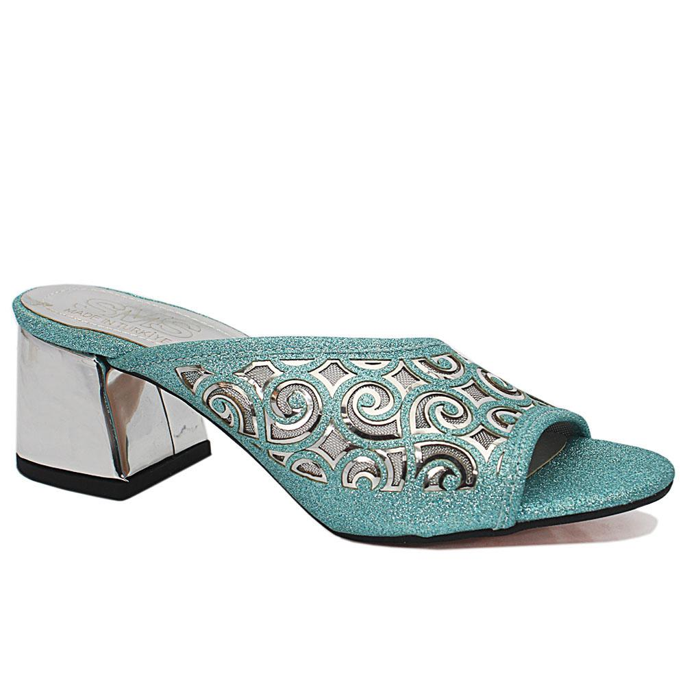 Leire T. Blue Open Toe Shimmering Leather Low Heel Slippers