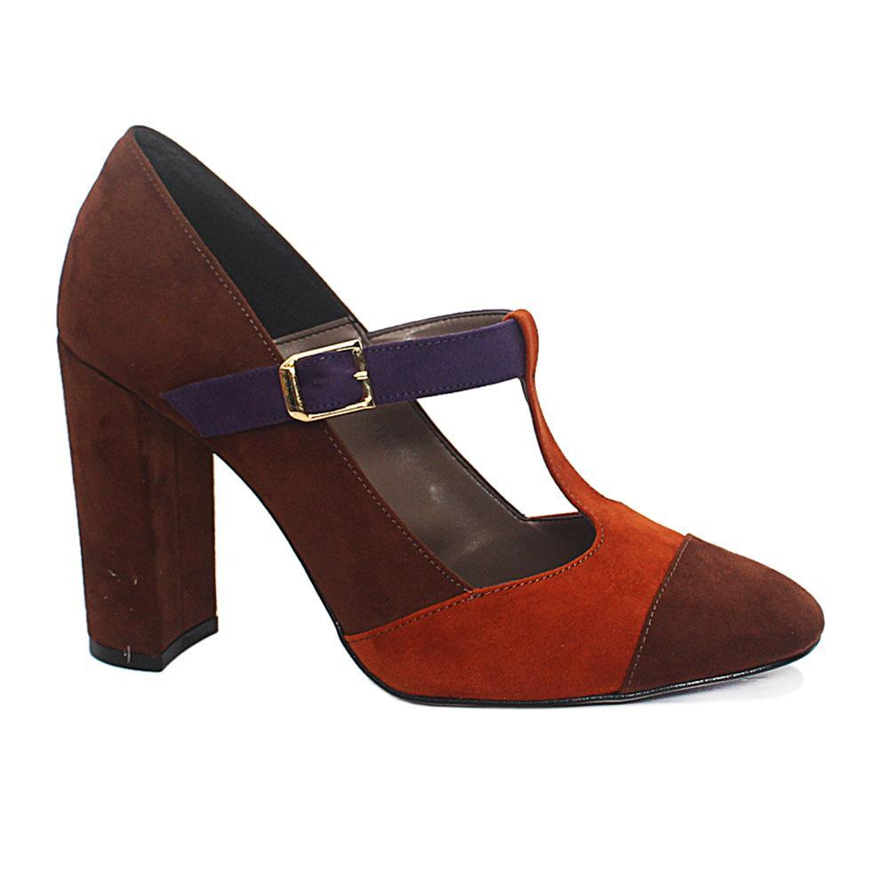 Coffee Mix Kayla Suede Leather Block Heel